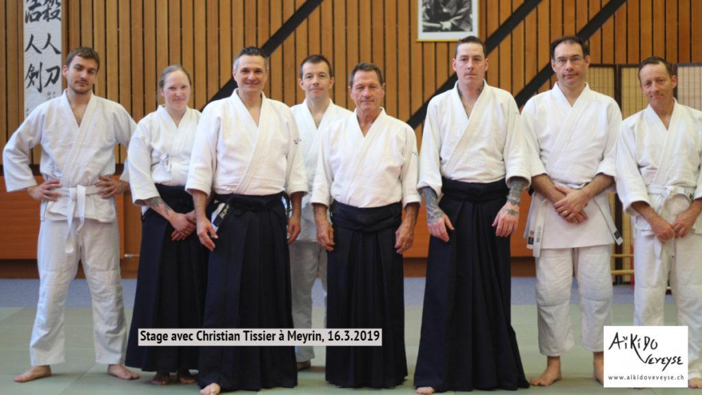 L'équipe AikidoVeveyse avec Michel Erb et Christian Tissier.